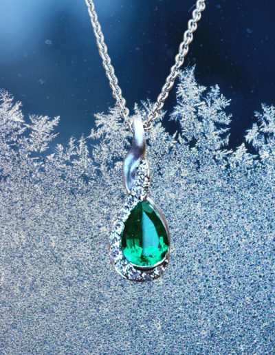 """Drop of Green"" ~ Cynthia Renée full custom design pendant in 18-karat white gold featuring 1.87 carat emerald (Zambia) accented by 0.32 carats of diamonds."