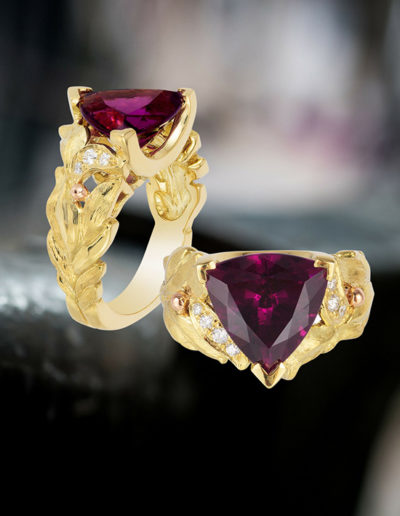 """Goddess in the Family"" ~ Cynthia Renée full custom design ring in 18 karat yellow gold featuring purple garnet (Tanzania, natural color) weighing 4.47 carats. Photo by Moghadam."
