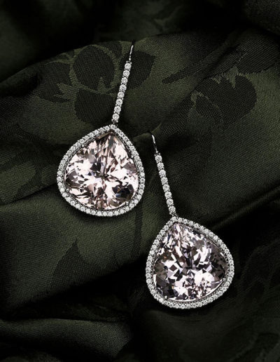 """Jeffer's Pinks"" ~ Cynthia Renée earrings featuring forty carat pair of Morganites (Brazil) accented by bead-set round diamonds and set in 14 karat white gold."