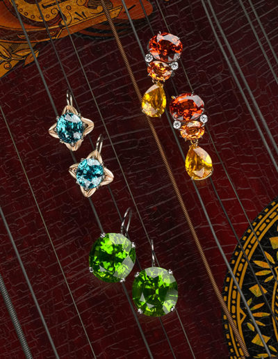 """Jewel Drop Trio"" ~ Cynthia Renée custom earrings featuring 29.72 carat pair of Peridot (Burma) set in 18 karat white gold."