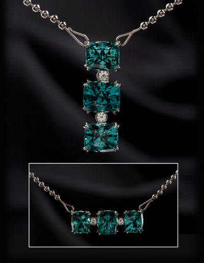 """Kate's Necklace"" ~ Cynthia Renée pendant featuring 14.67 carat trio of Icy Blue Tourmaline (Afghanistan) cut in the Zava pillow™ cut and set in 19-karat white gold. Pendant can be worn vertically and horizontally."