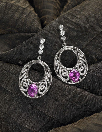 """Klein Earrings"" ~ Cynthia Renée custom earrings featuring pair of 4.57 carat Pink Sapphire (Madagascar) accented with 0.45 carats of round, white diamonds and set in 14 karat white gold."