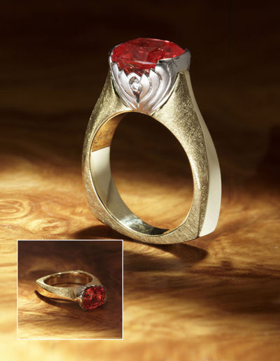 "Cynthia Renée ""Lotus Flower"" Ring featuring an extra-fine, unheated 4.13 carat Padparadsha Sapphire (Madagascar) set in 20 karat gold and platinum."