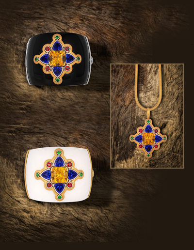 """Medallion Jewel"" - Cynthia Renée full custom multi-purpose jeweled medallion featuring a 20.52 carat yellow danburite from Tanzania with 14 carats of tanzanite, 1.04 carats of tsavorite and 2.78 carats of red spinel. The jeweled portion can be worn in either of the custom made black or white cuffs or as a pendant. First Place winner for Custom Design Distinction in the MJSA Vision Awards 2017. <a href=""http://cynthiarenee.com/oops-three-pieces-one-award-winning-jewelry-design/""> THE STORY</a>"