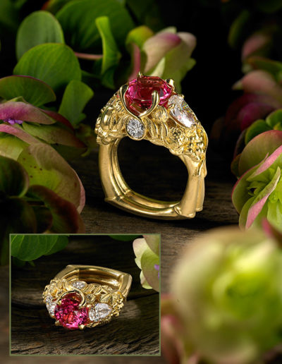 """Miradoniz"" ~ Cynthia Renée full custom design ring in 18 karat yellow gold featuring 3.71 carat padparadscha sapphire (Madagascar, heat), a pair of 1.41 carat diamond pears and two additional round diamonds weighing a total of 0.39 carats. Photo by John Parrish. <a href=""http://cynthiarenee.com/pleasure-garden-4-april-2013/""> THE STORY</a>"