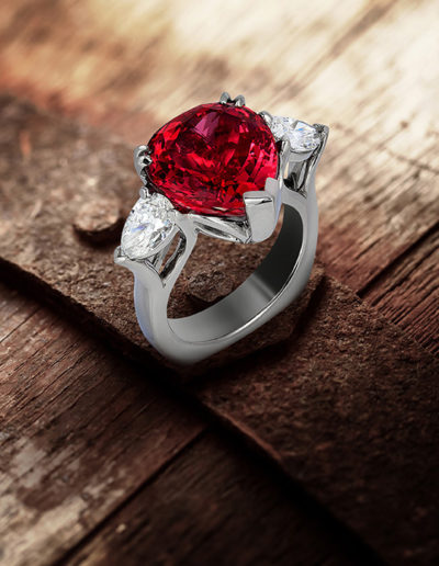 """A Natural Red"" ~ Cynthia Renée full custom design ring in palladium ring 8.93 carat Red Spinel (Mahenge, Tanzania, natural color) accented by two pear-shaped diamonds weighing 1.23 carats total. <a href=""http://cynthiarenee.com/a-natural/"">  THE STORY</a>"