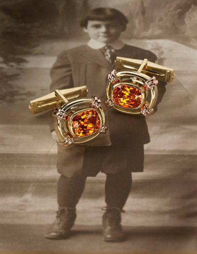 """Open Spaces"" ~ Cynthia Renée custom cufflinks featuring pair of Spessartite garnets (Nigeria) set in 18-karat yellow gold; 14-karat rose gold accents."