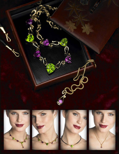 "Cynthia Renée ""Orchid"" necklace featuring 55.05 carat suite of Zava Mastercuts' Peridot (Pakistan) and Rhodolite Garnet (Tanzania) set in 18-karat yellow gold. Center Peridot can be worn in Orchid Necklace or by itself on a black and yellow gold cord; round Rhodolite in 18-karat yellow gold, assymetric drop can be worn attached to center Peridot as a drop or on a simple chain."