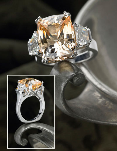 """Peach Sapphire Ring"" ~ Cynthia Renée ring featuring 14.62 carat, unheated Peach Sapphire (Sri Lanka) paired with 1.17 carat pair of trapezoid diamonds (F/VS+) set in 19 karat white gold."