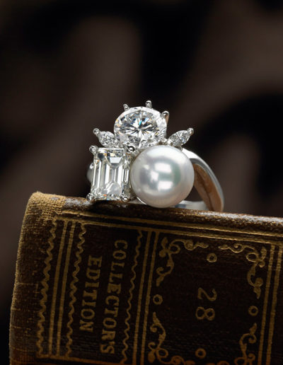 """Pearl Bubble Ring"" ~ Cynthia Renée ring combining round, emerald-cut and marquise diamonds with a nine mm Akoya pearl, all set in platinum."