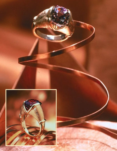 "Cynthia Renée ""Pietra"" ring featuring 7.37 carat unheated tanzanite, set in 18 karat rose gold."