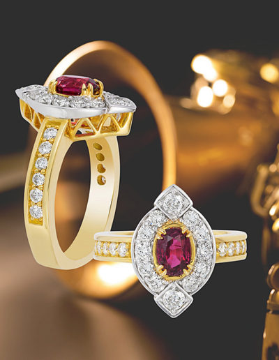 """Red, White and Love"" ~ Cynthia Renée full custom design ring in 18 karat yellow and white gold featuring 1.24 carat oval ruby accented by 0.80 carats of round diamonds.  This ring was a redesign using the ruby and diamonds in three rings the client no longer wore. Photo by Mogadham."