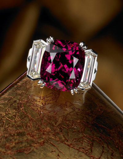 """Rhodolite Ring"" ~ Cynthia Renée ring featuring twenty carat Rhodolite (Sri Lanka) flanked by client's pair of elongated hexagon diamonds and set in 18 karat white gold."