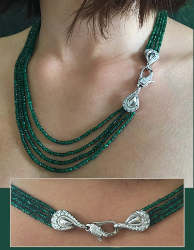 """River of Green"" ~ Cynthia Renée full custom design clasp in 18-karat white gold for four strands of faceted emerald beads (169.95 carats)."