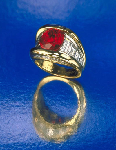 """Ruby Ring"" ~ Cynthia Renée ring featuring a five carat Ruby, accented with 32 custom-cut diamond baguettes weighing over three carats (E/F; VVS+) and set in 18 karat yellow gold and platinum."