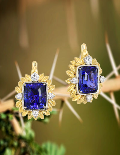 """Serengeti Moments"" ~ Cynthia Renée full custom design earrings in 18 karat yellow gold and 14 karat white gold featuring pair of 12.14 carat tanzanites (Tanzania) accented by 0.80 carats of diamonds. Photo by Moghadam."