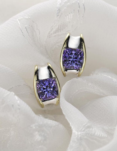 """Simply Chic"" ~ Cynthia Renée earrings featuring pair of thirteen carat, unheated Tanzanite set in 20 karat yellow gold and 14 karat white gold."