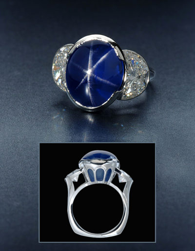 """Blue Star"" ~ Cynthia Renée ring featuring an over twenty carat Blue Star Sapphire (Sri Lanka) flanked by a three carat pair of diamond half-moons (F/VS1) and set in platinum."
