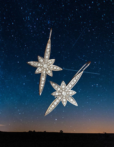 """Star Shine"" Cynthia Renée full custom design earrings  ~ 14 karat white gold earrings featuring 1.16 carats of diamonds; can also support removable drops."