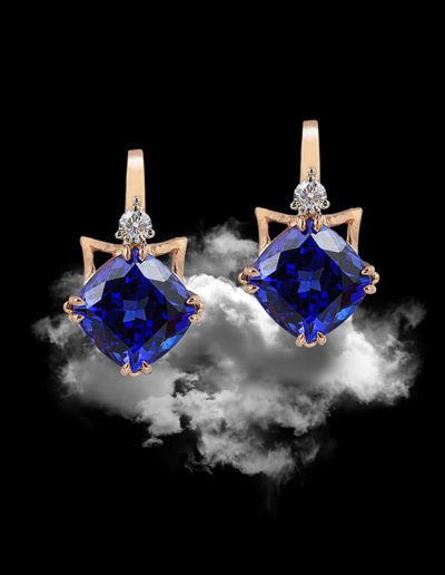 """Torii Gate"" ~ Cynthia Renée full custom design earrings in 14 karat rose gold featuring 8.23 carat pair of tanzanite (Tanzania) and 0.18 carats of diamonds; platinum bead accent. Photo by Moghadam."