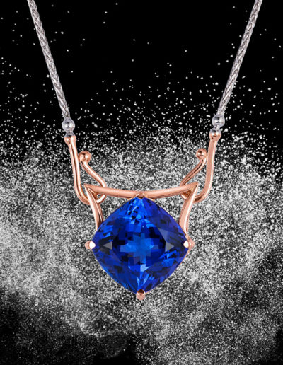 """Torii Tanzanite"" ~ Cynthia Renée full custom design pendant in 14 karat rose-and white-golds featuring 13.11 carat tanzanite. Photo by Moghadam.   <a href=""http://cynthiarenee.com/designers-notebook-october-16-2014/""> THE STORY</a>"
