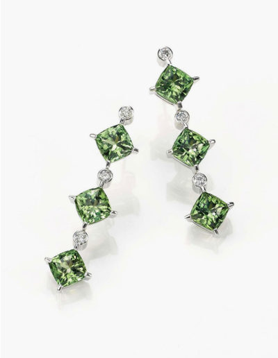 """Triple Drop"" ~ Cynthia Renée earring featuring six, 8-mm ""Seafoam"" Tourmaline (Afghanistan) fashioned in the Zava pillow™ cut and accented by six round diamonds."