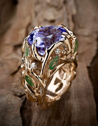 """Wisteria Ring"" ~ Cynthia Renée ring featuring 10.01 carat Lavender, Cuprian Tourmaline (Mozambique) accented by round diamonds and set in 14 karat rose gold, green enamel and platinum ""dew"" accents."