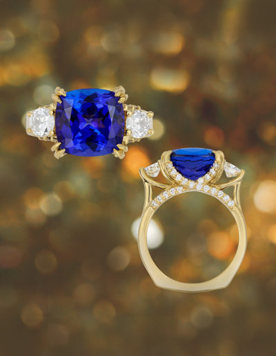 """With Love"" ~ Cynthia Renée full custom design 18 karat yellow gold ring featuring 7.18 carat Tanzanite (Tanzania-heat) accented by 1.28 carats of diamonds. Photo by Moghadam."