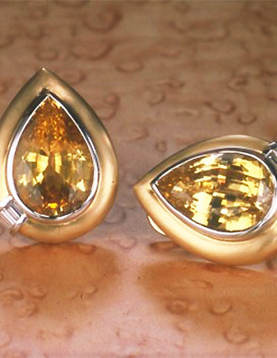 """Yellow Sapphire"" ~ Cynthia Renée earrings featuring over twenty-five carat pair of unheated Yellow Sapphires (Sri Lanka) accented by diamond baguettes and set in 18 karat yellow gold and platinum."