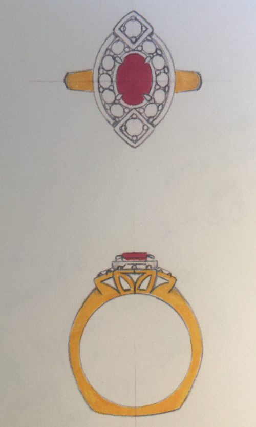 Cynthia Renee BYOJ Ruby Gold Ring Sketch