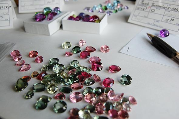 Torii Gate necklace cuprian tourmaline custom jewelry design gem