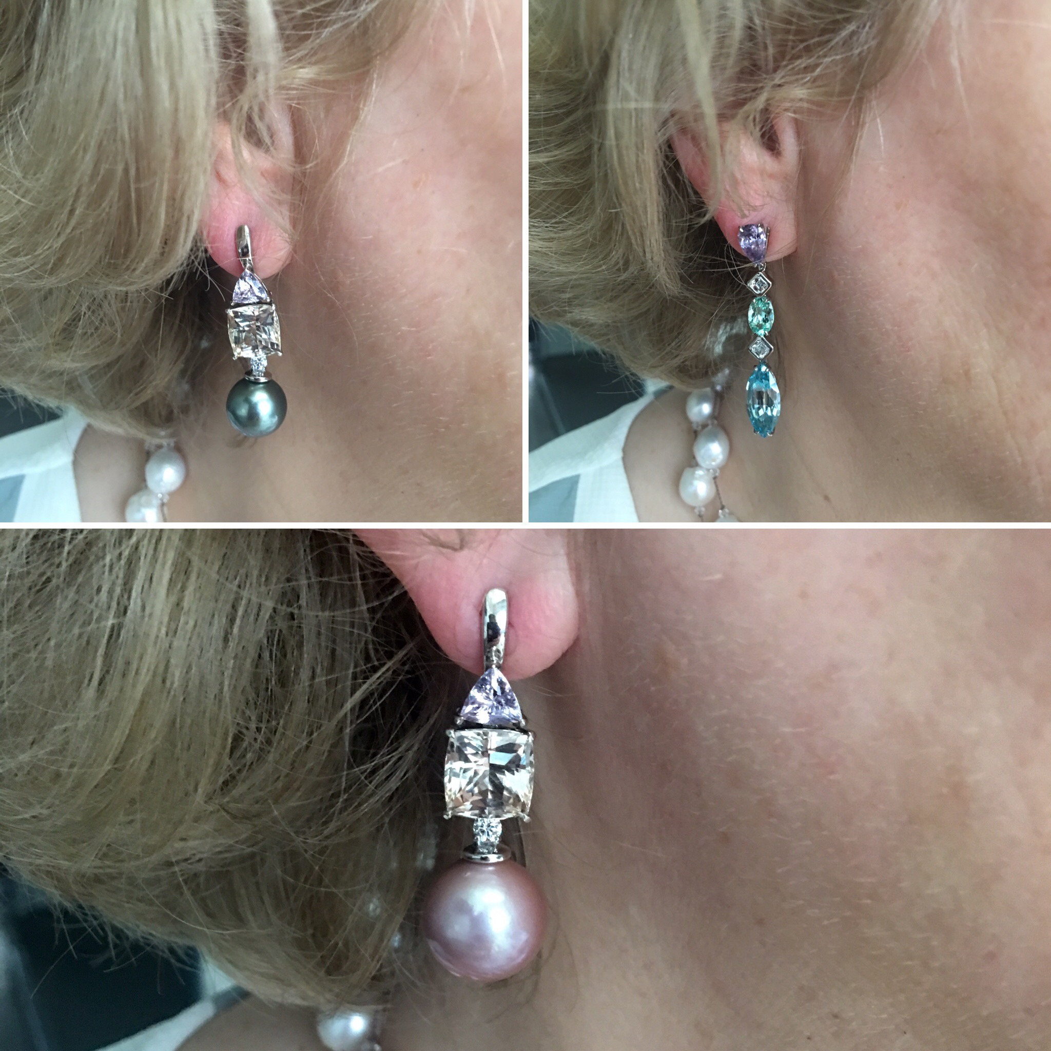 Mother of The Bride Custom Jewelry Design Peach Topaz Pink Tourmaline Pearl Drop Earring