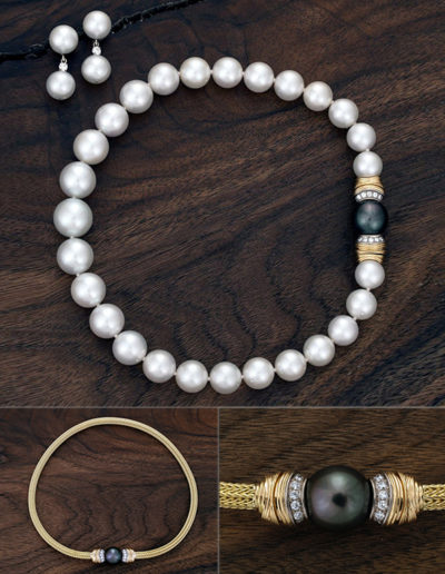 """Wedding Pearls"" ~ Cynthia Renée 12-15.5mm white South Sea Pearls with 18-karat yellow gold and 14-karat white gold clasp featuring 15 mm Black Pearl and 0.70 carats of round diamonds. The clasp is removable and can be worn on both the pearl strand or 18-karat yellow gold foxtail mesh chain. The black pearl can also be removed and the clasp worn with a large lapis bead, pave diamond sphere, or other options."