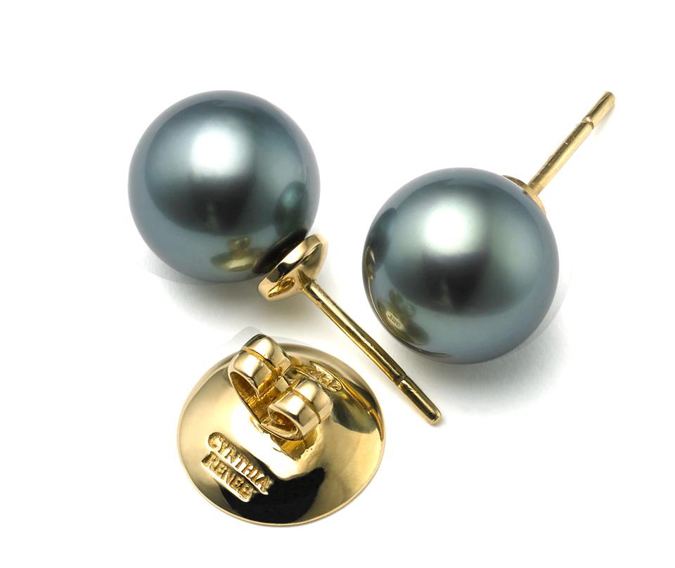 40827ed0104ad Bluish-Black Tahitian Progressive Pearl Studs ~ 11 mm