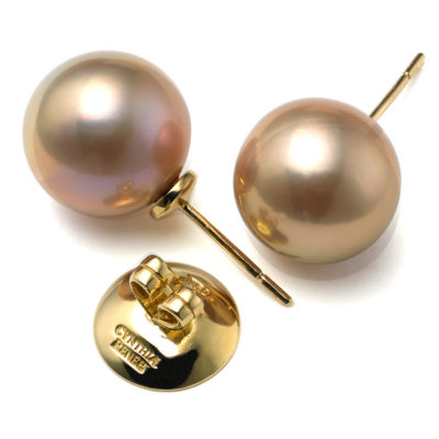 "Pair of Pink-Peach Freshwater Kasumiga Pearl earrings, 12.5mm x 13mm on 18-karat yellow gold removable ""Progressive Pearl"" posts with 12mm parabolic friction backs."