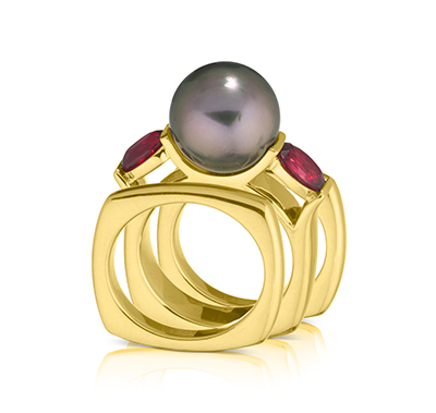 Cynthia Renee Custom Jewelry Design Pearl Interchangeable Bands Ring
