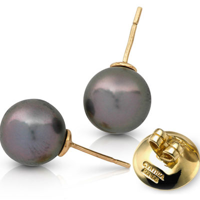 "Pair of Black Tahitian Pearls (11.9 mm) on 18-karat yellow golds removable ""Progressive Pearl"" posts with 12 mm parabolic friction backs; natural color."