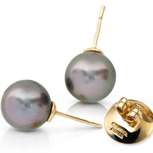 """Pair of Black Tahitian Pearls with rose overtones on 18 karat yellow gold removable """"Progressive Pearl"""" posts with 12 mm parabolic friction backs."""
