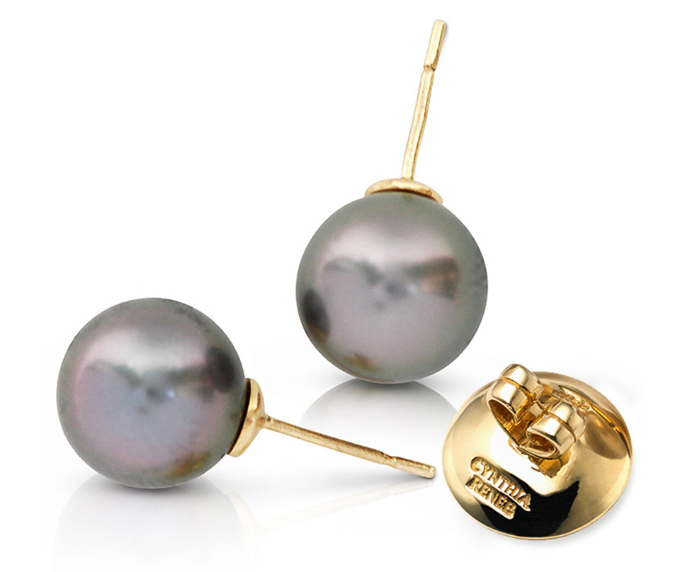 Pair of Black Tahitian Pearls with rose overtones on 18 karat yellow gold removable