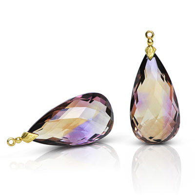 Gem Drop pair in 18 karat yellow gold featuring pair of  55.95 carats Ametrine faceted briolette; the briolette cap is a hand-textured petal motif.