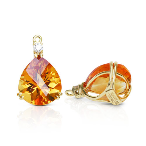 Gem drop pair in 18 karat yellow gold featuring pair of 14.65 carats pear-shape Citrine accented by pair of 0.20 carats round diamonds; tail on back for suspending drops.