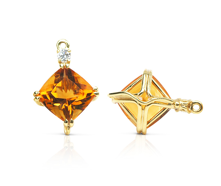Gem drop pair in 18-karat yellow gold featuring pair of 8.38-carat square cushion-shaped Citrine, accented by apair of 0.19 carat round diamonds; tail on back for suspending drops.