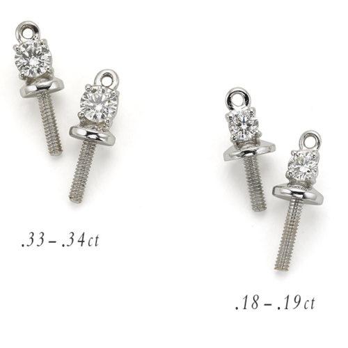 Pair of Diamond Drop Adaptors, in 18 karat gold, featuring round diamond pair. Replace your pearl stud's post with a Diamond Drop Adaptor.