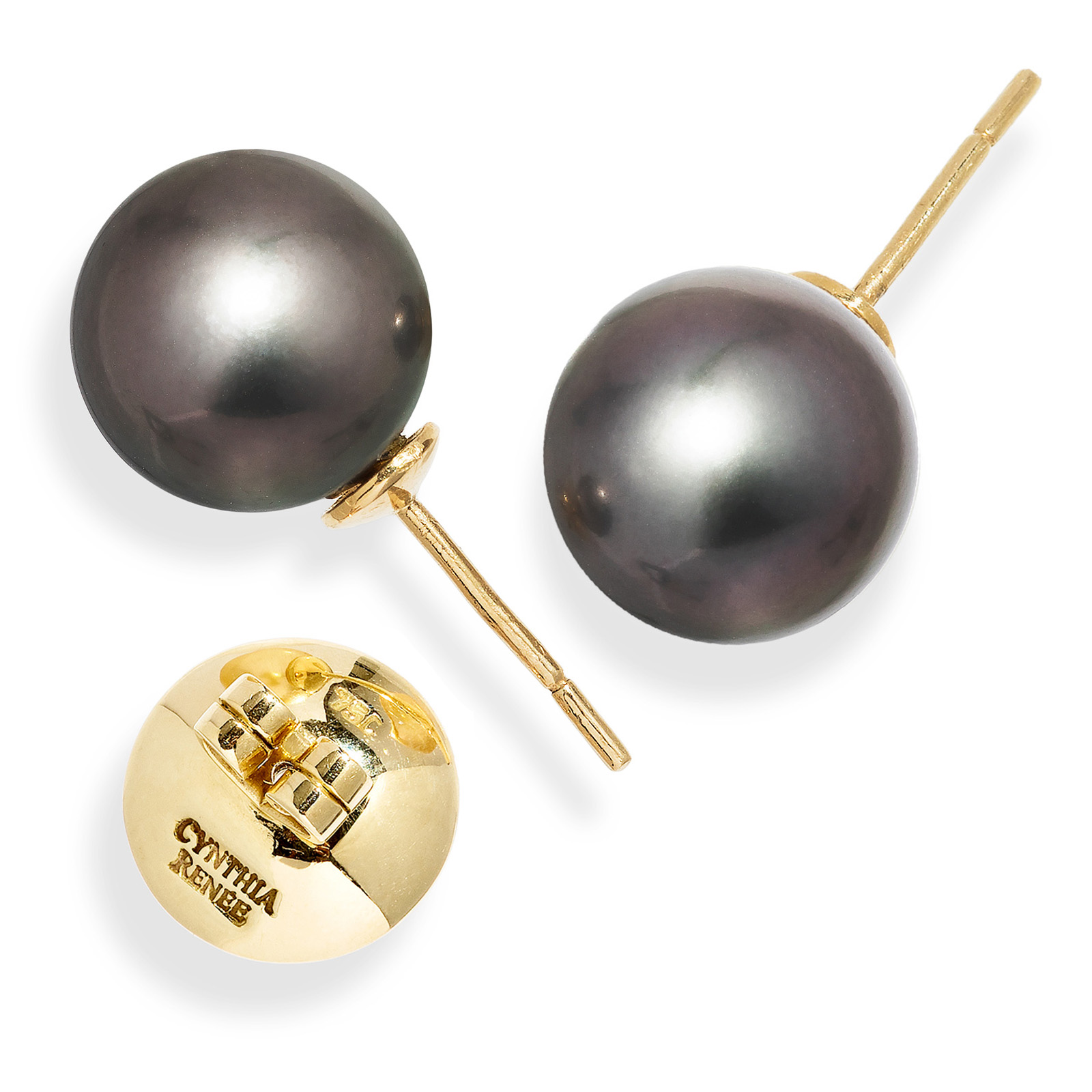 """Pair of Black Tahitian Pearls (11.9 mm) on 18-karat yellow golds removable """"Progressive Pearl"""" posts with 12 mm parabolic friction backs; natural color."""