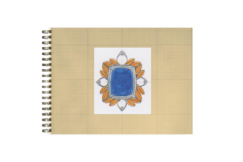 Blue Tanzanite Gold Earrings - Before Custom Jewelry Design Sketch