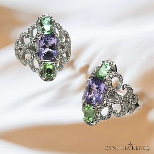 Three-stone-platinum-ring-featuring-lavender-spinel-green garnet-and-micro-pave-diamond-final