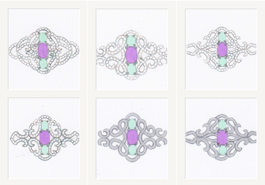 Three-stone-platinum-ring-initial-sketches-with-gem-placements