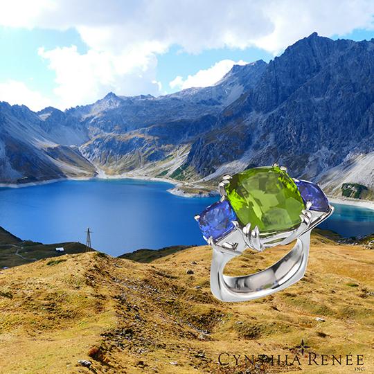 burmese-peridot-tanzanite-ring