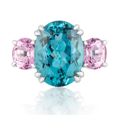 """The """"Heaven & Earth"""" Ring in palladium featuring 5.55 carats Blue Tourmaline (Nigeria) and apair of 1.00 carats Pink Spinels (Burma)."""
