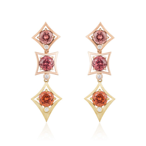 """""""Charmed Life"""" Earrings in 18 karat yellow gold and 14 karat rose gold featuring three pairs of color variegated Zircon (Tanzania) weighing a total of 18.46 carats."""